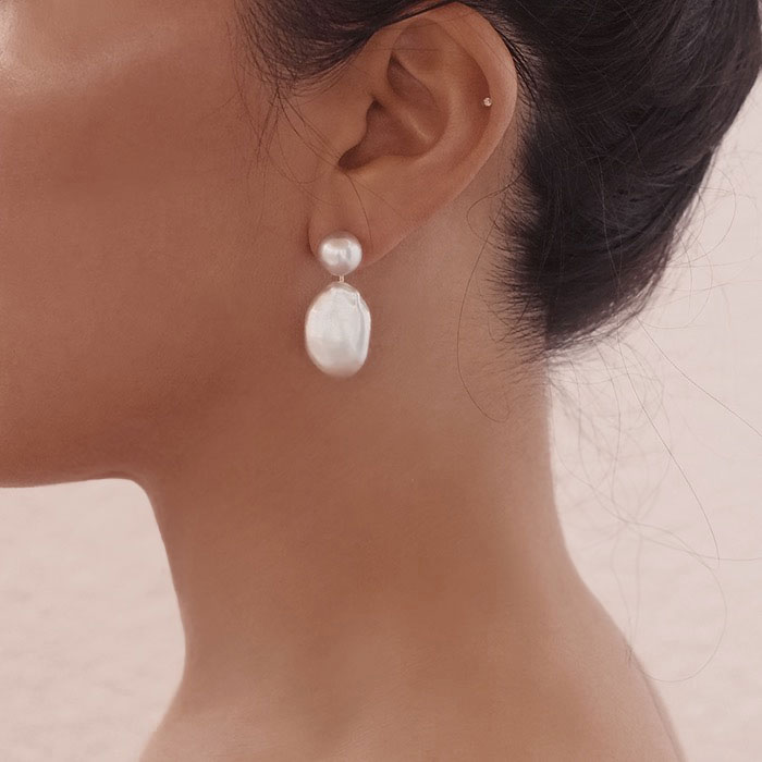 Tomber Amoureux Casablanca Grey Baroque & Soufflé Pearl Earrings