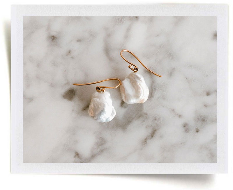 MELROSE 18k Rose Gold & White Baroque Pearl Drops