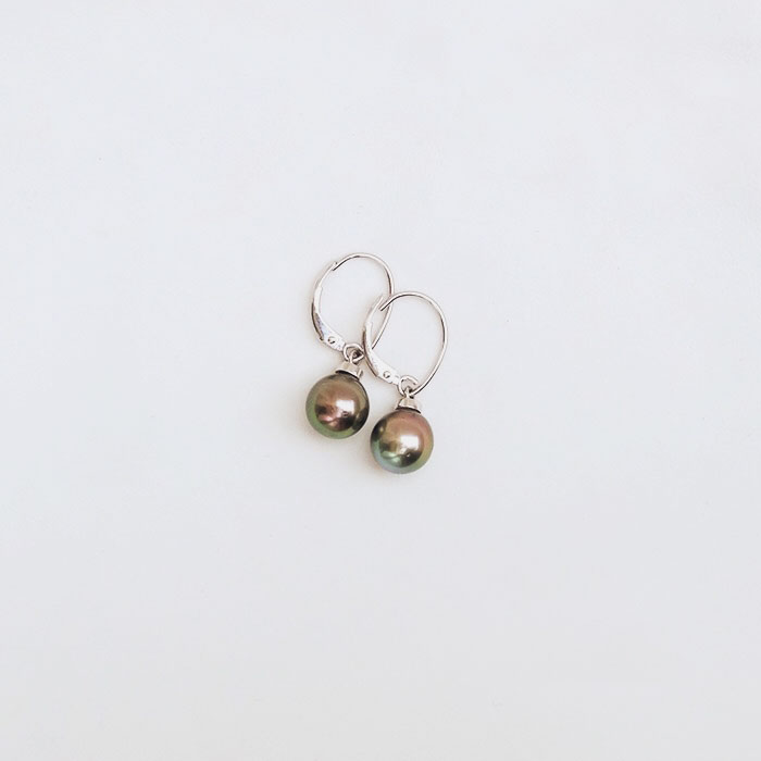 Tomber Amoureux Society Islands Black Tahitian Pearl Drop Earring